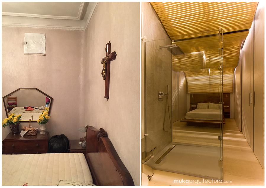 Dormitorio principal. Antes y después.