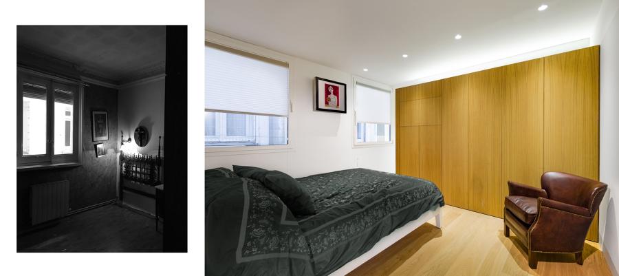 Dormitorio principal, antes y después.