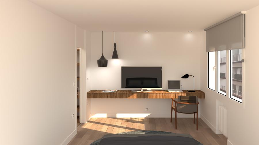 Dormitorio principal, zona de TV y escritorio
