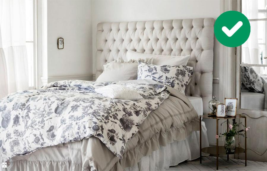 Dormitorio romántico en gris