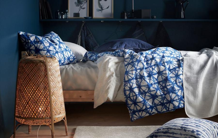 Dormitorio textiles azul IKEA