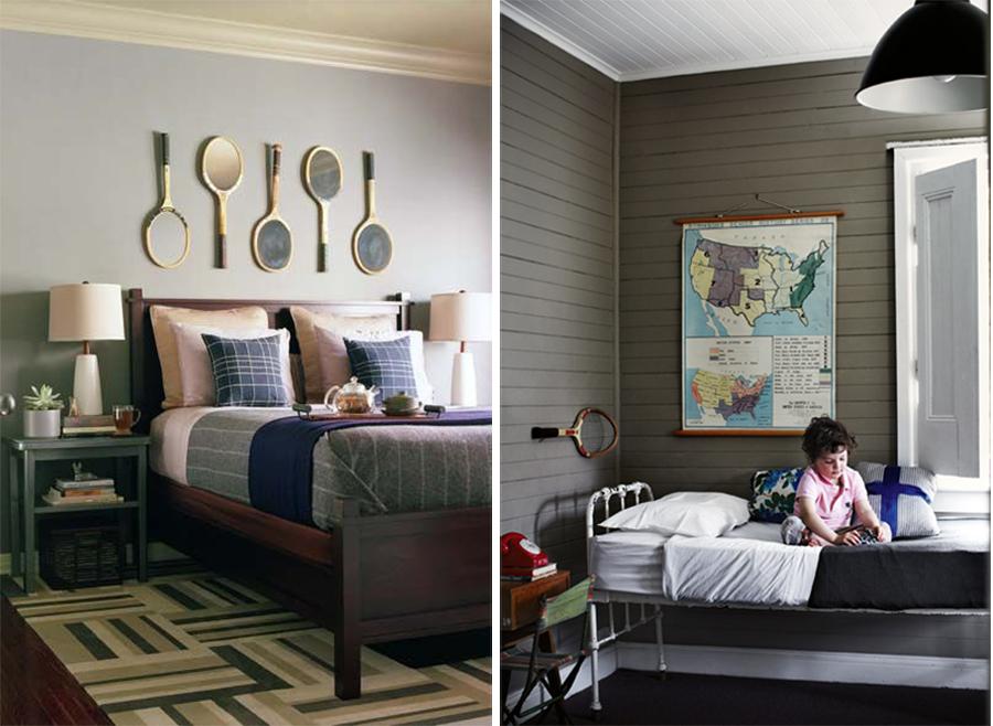 decor el dormitorios con raquetas