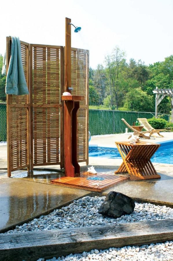 Duchas de piscinas cool ducha de jardin y piscina con for Duchas de piscina