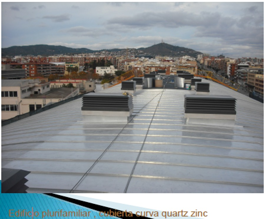 Edificio Plurifamiliar, cubierta curva quartz zinc