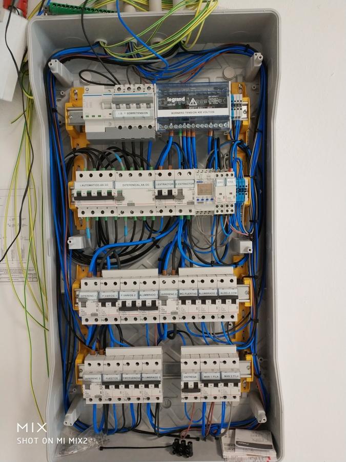 Ejecución del cuadro de mando y protección para control de la instalacion