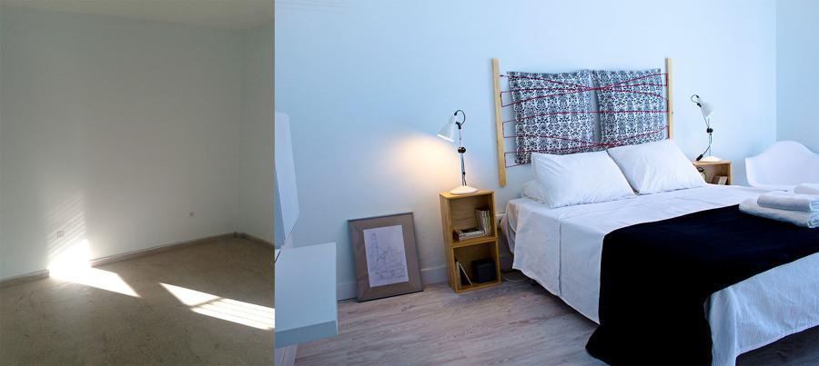 El antes y después de uno de los dormitorios