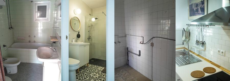 El antes y después del baño y de la cocina