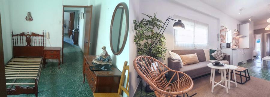 El antes y después del salón-cocina-comedor