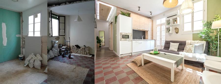El antes y después del salón con cocina abierta