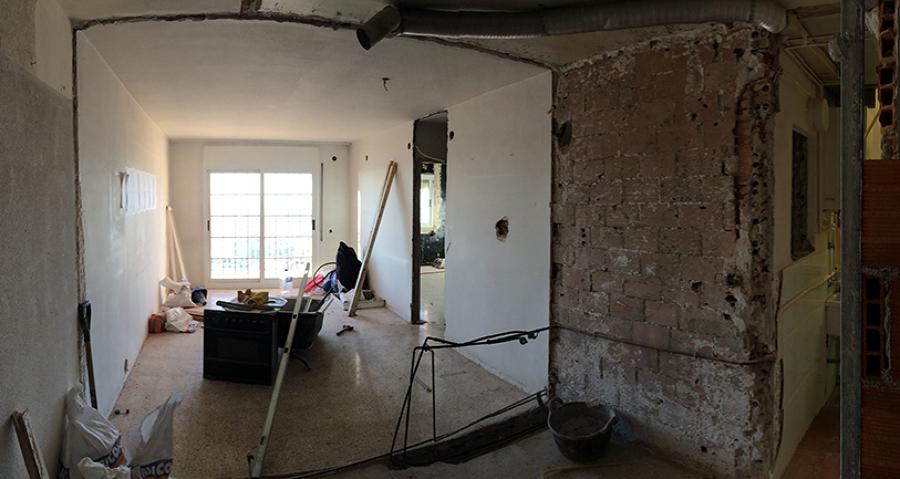 El piso en obras.