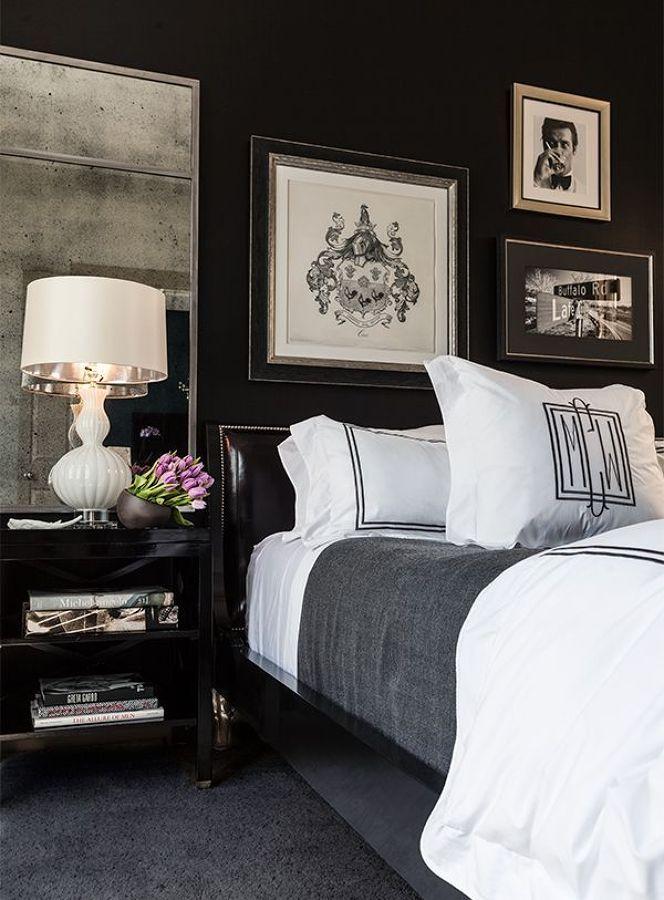 pared negra en el dormitorio