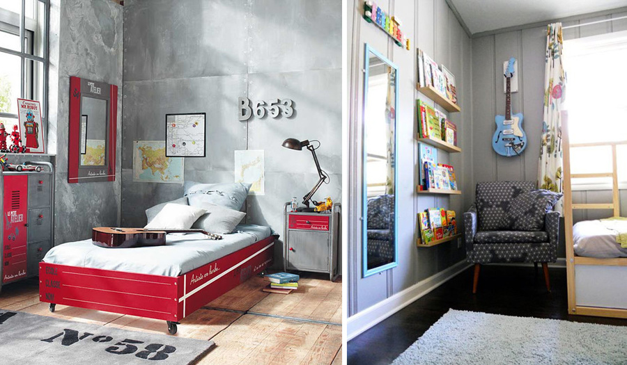 En dormitorios juveniles guitarras como decoración