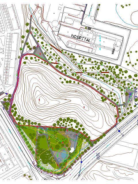 Encaje de proyecto de un parque sobre topográfico
