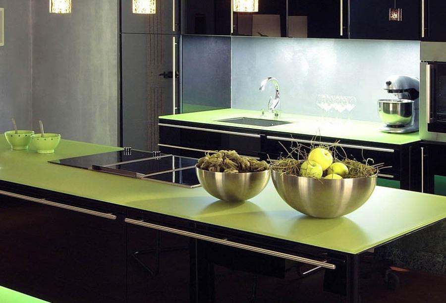 Encimera de cristal verde