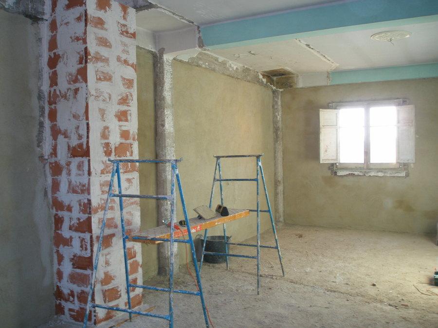 enfoscado las paredes  exteriores de cemento antes de la cámara