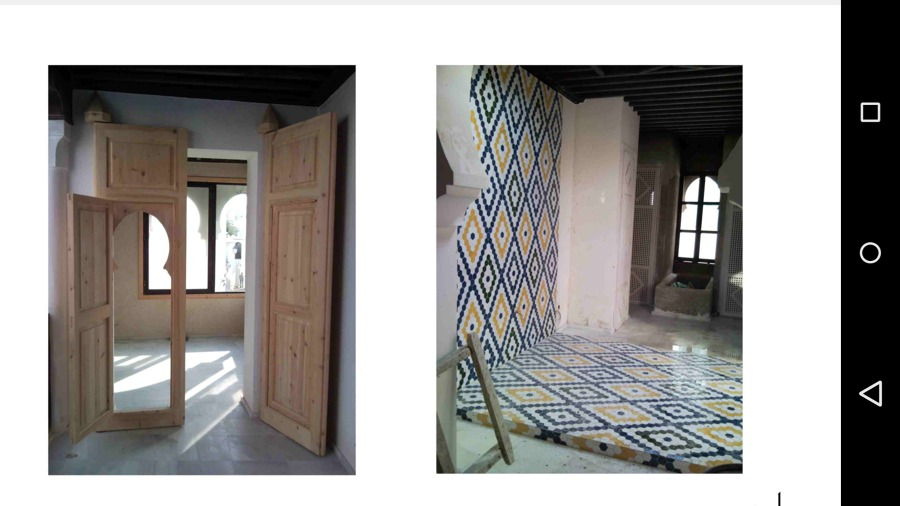 Entrada y detalle, dormitorio, en construcción