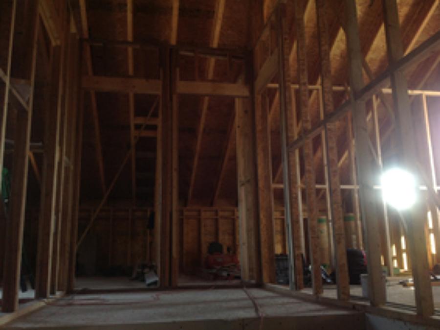 entramado ligero de madera en particiones y fachada
