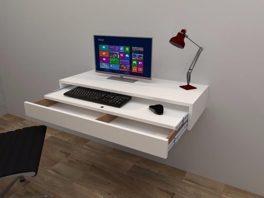 Foto escritorio flotante con balda y cajon extraible de - Como hacer una mesa escritorio ...