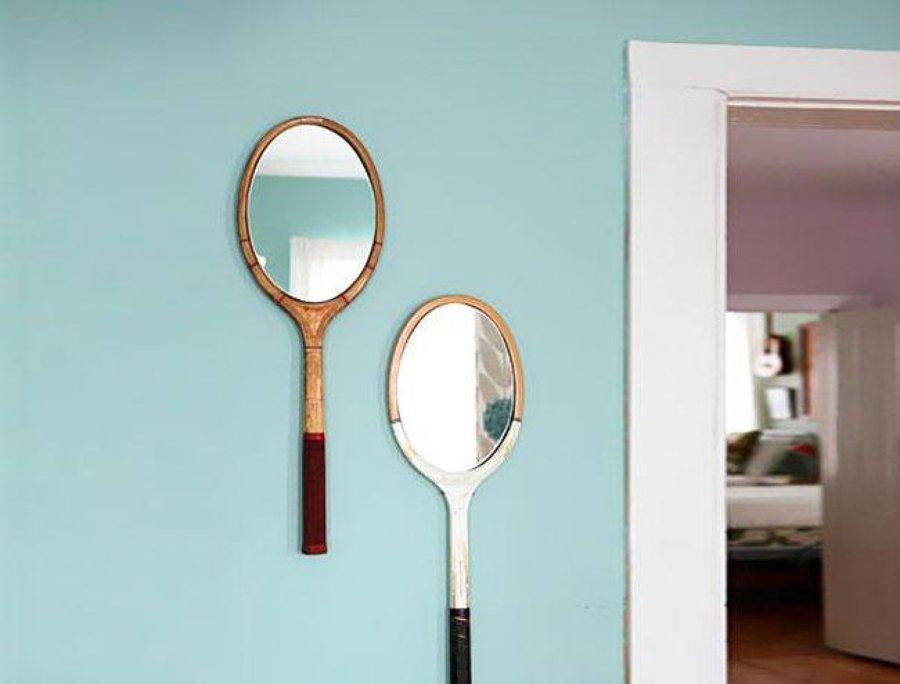 Espejos a partir de raquetas antiguas