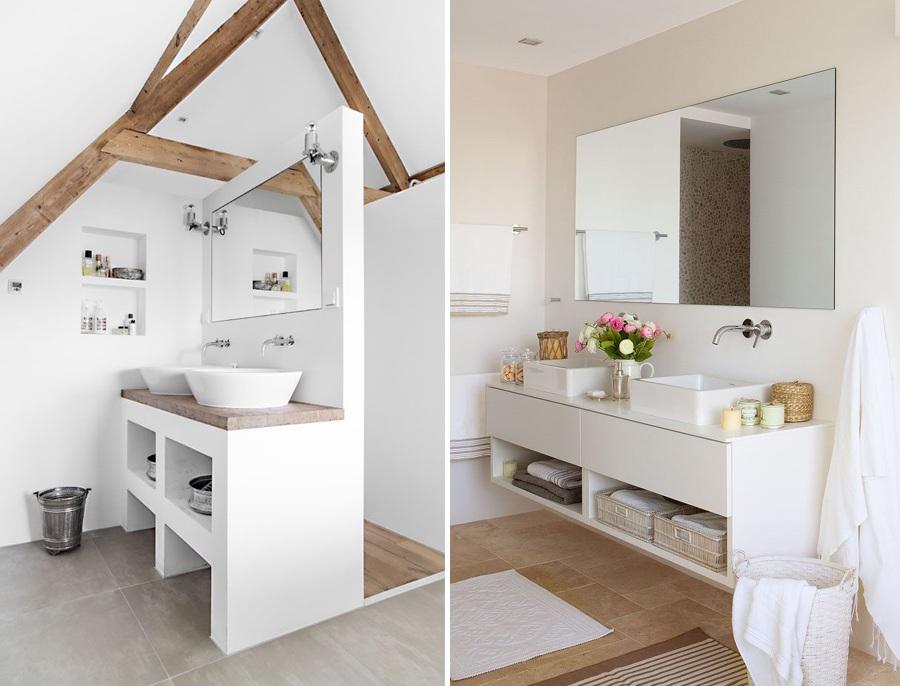 Baño Pequeno Mampara:baños en blanco con espejos y mamparas