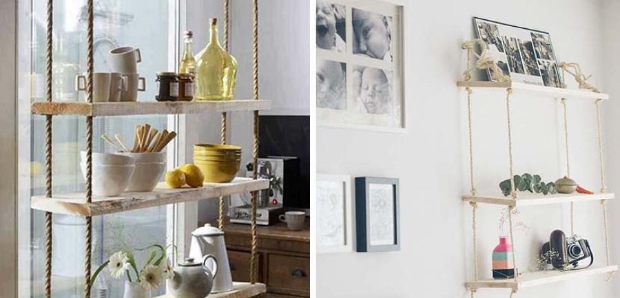 5 estanter as originales que puedes hacer t mismo ideas - Decoracion con cuerdas ...