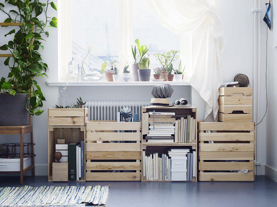 Estanterías y almacenaje con cajas recicladas