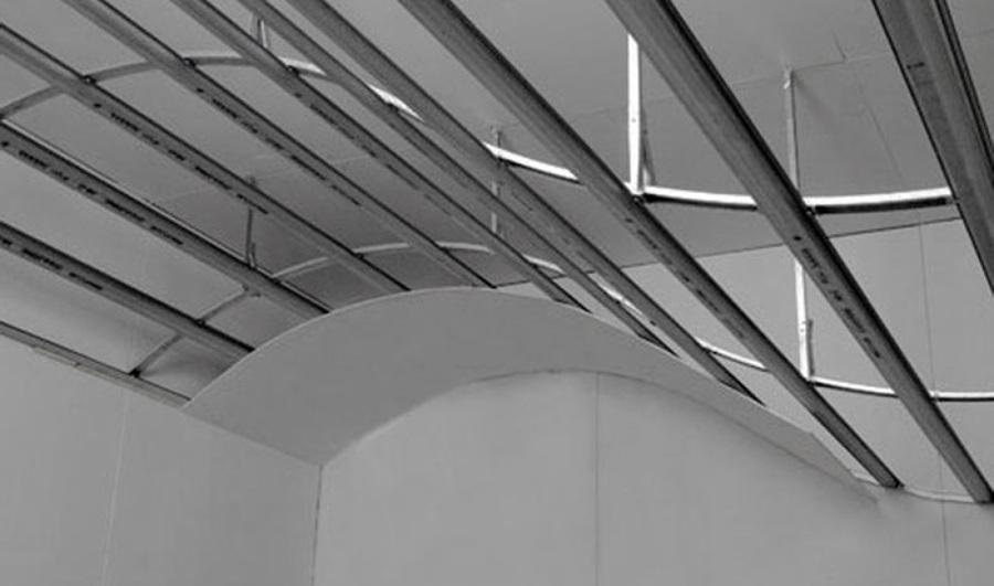 Estructura metálica de falso techo ondulado