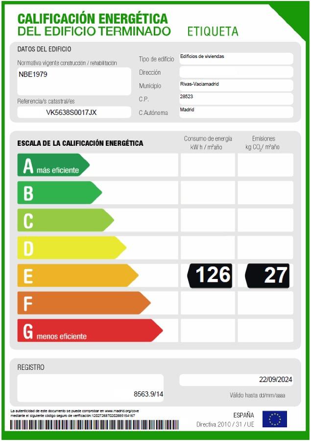 Foto etiqueta energ tica de certificados energ ticos for Certificado energetico en santander
