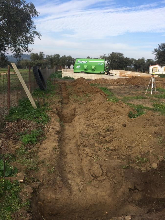 Excavación para vigas riostras