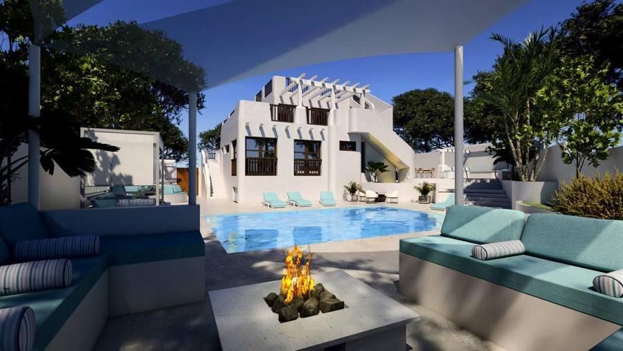 Exterior, terraza y piscina
