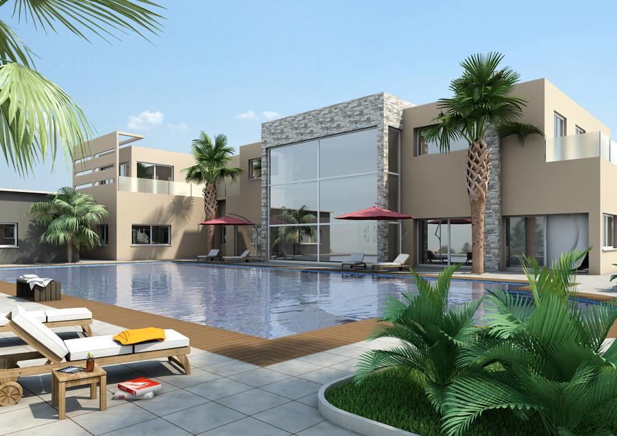 Exteriores fachadas jardines y piscinas varios proyectos for Diseno de jardines modernos con piscina