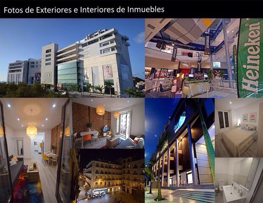 Fotos interiores y exteriores de edificios.