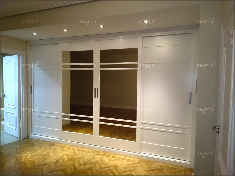 Armario lacado en blanco de puertas deslizantes fabricado - Armario blanco puertas correderas ...