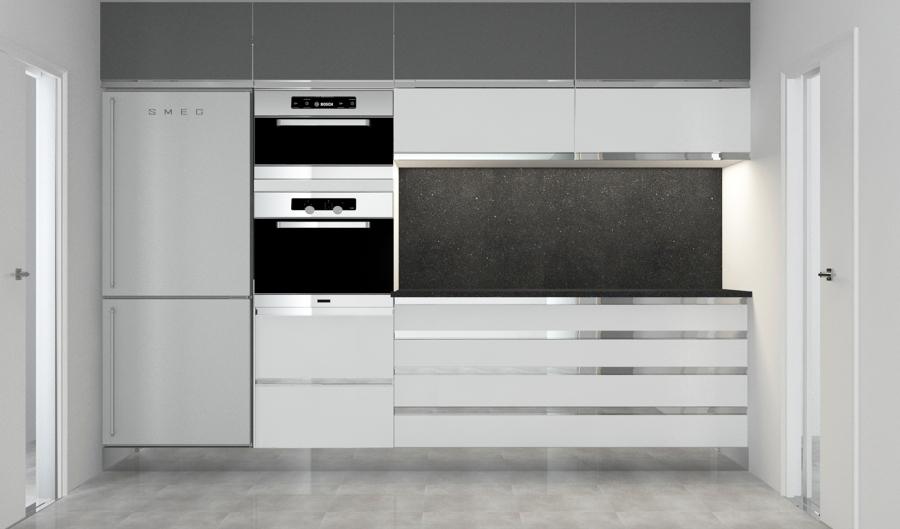 Foto frontal cocina barcelona columna y nevera de mig - Columna horno y microondas ...