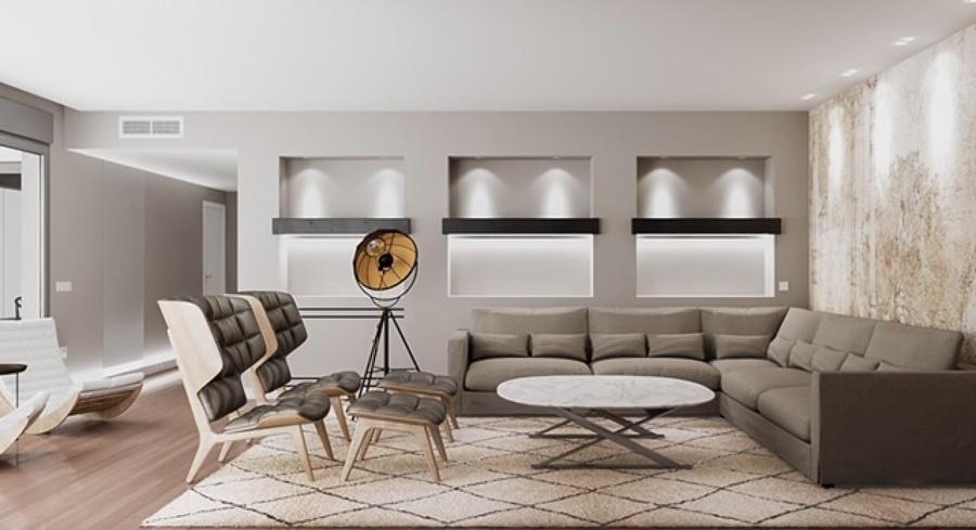 Frontal zona de estar salón con detalle de hornacinas con madera maciza e iluminación led