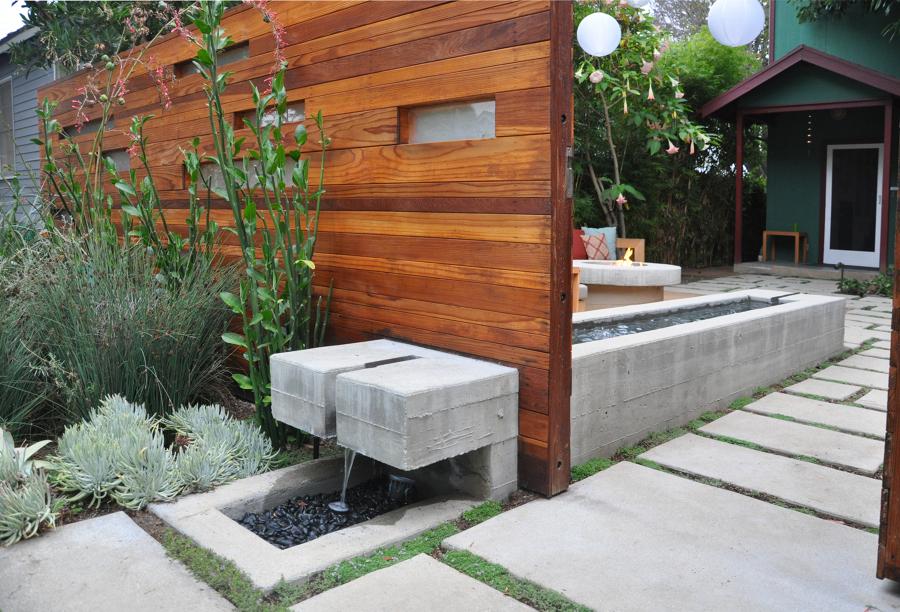 fuente de hormign y madera