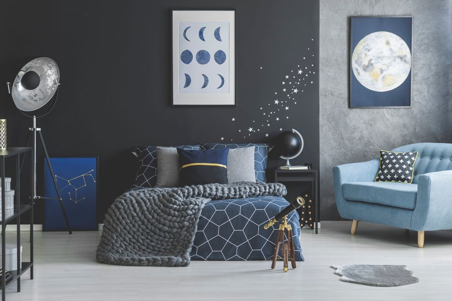 Habitación azul y gris