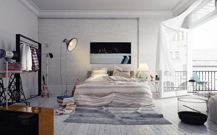 Habitación con suelo gris