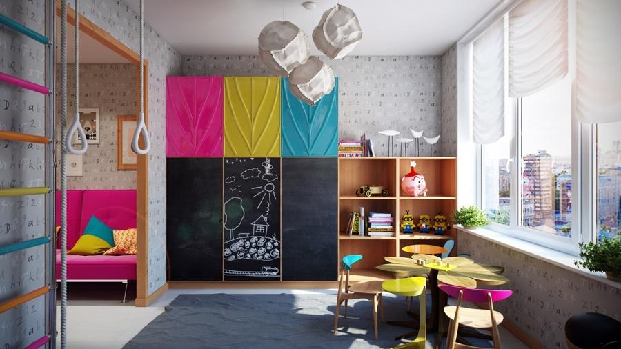 habitacin infantil con estanteras y pizarra