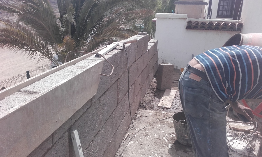 Haciendo el muro superior terraza