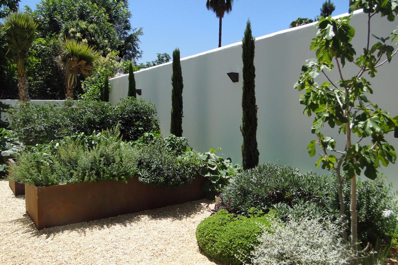 Huerto urbano en jardín de Sevilla