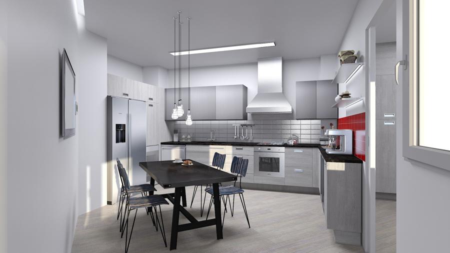 imagen 3D previa de la cocina