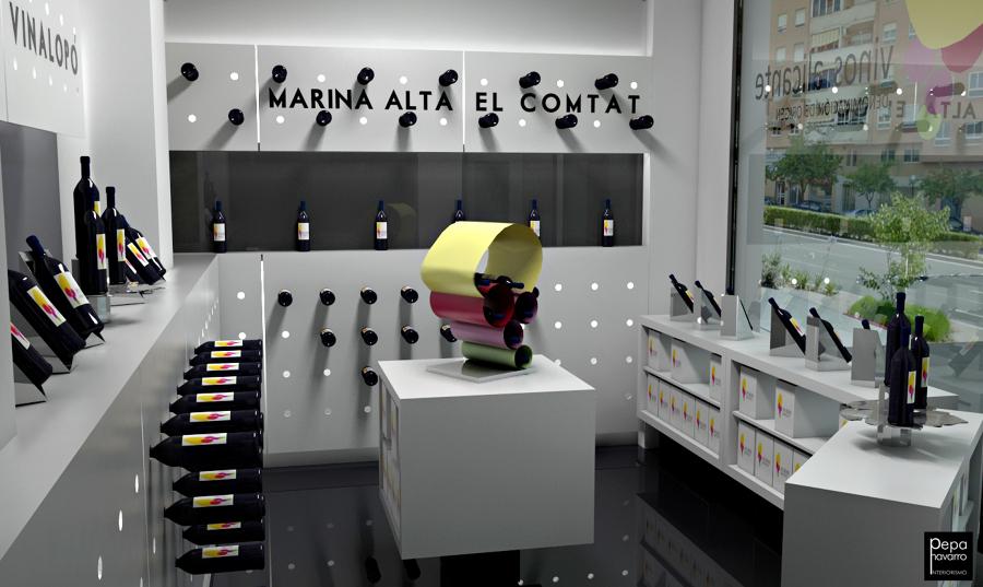 Infografía 3D de espacio comercial destinado a Vinacoteca