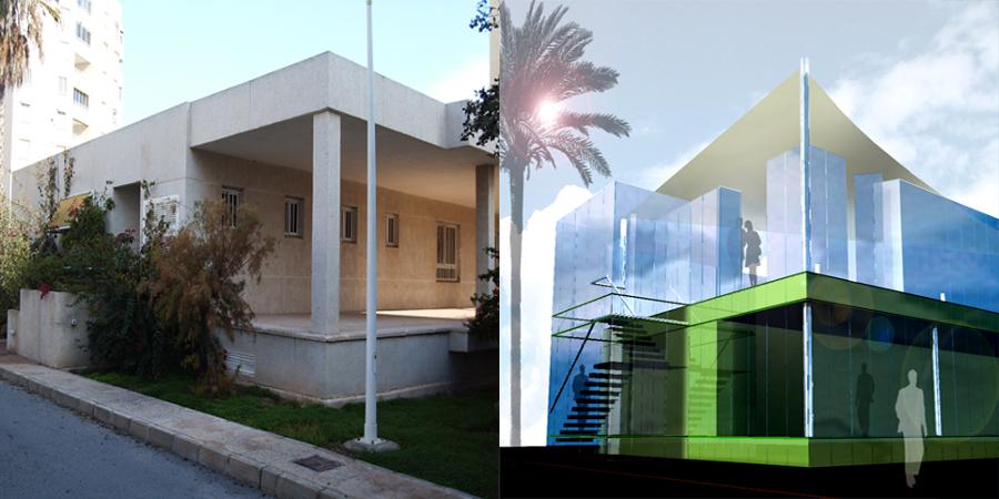 Infografía de antes y después de la reforma en fachada posterior