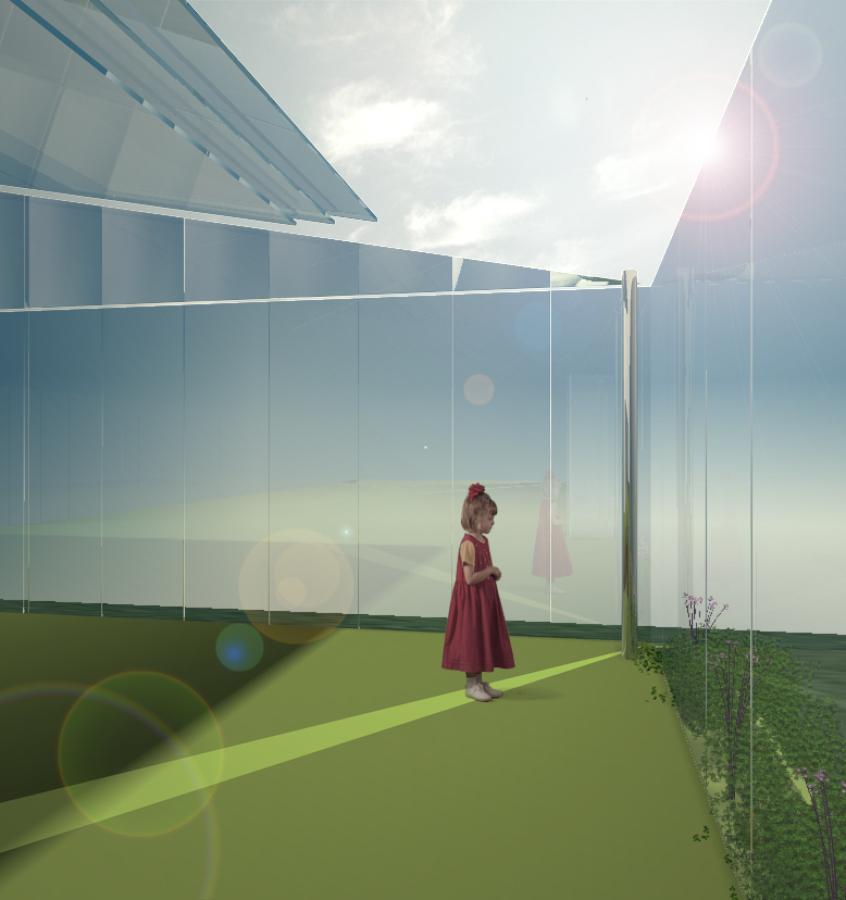 Infografía de cubiertas móviles y cerramientos de vidrio en terraza superior