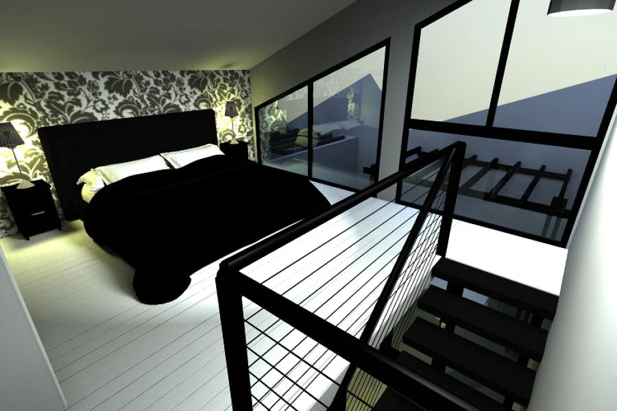 Infografia de Dormitorio en Altillo