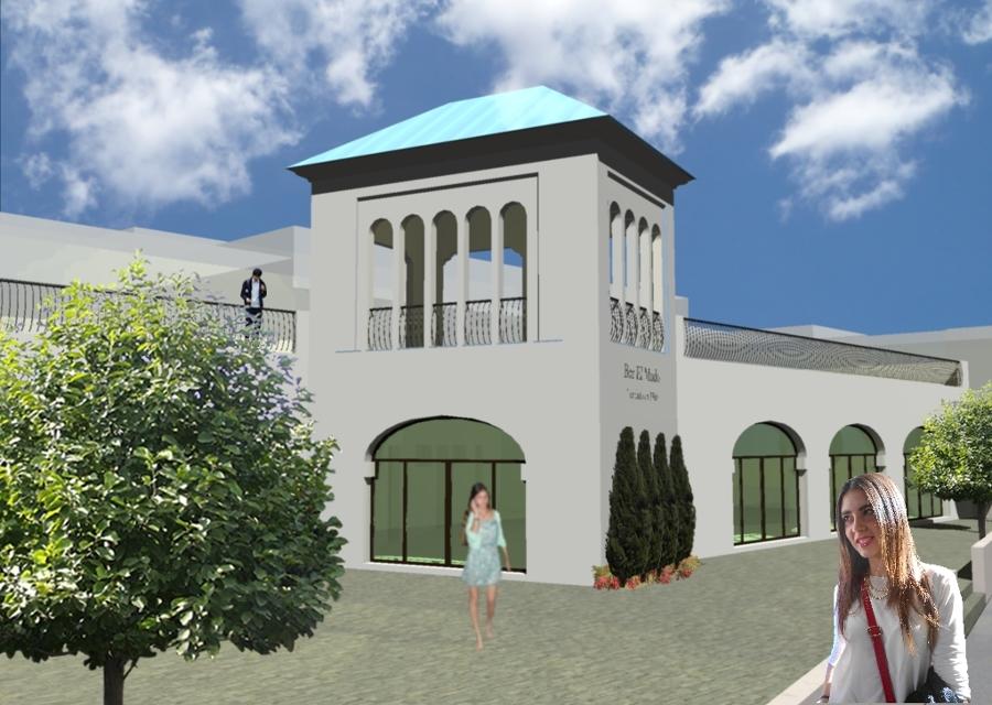Infografía de proyecto del conjunto, con vista de la fachada principal