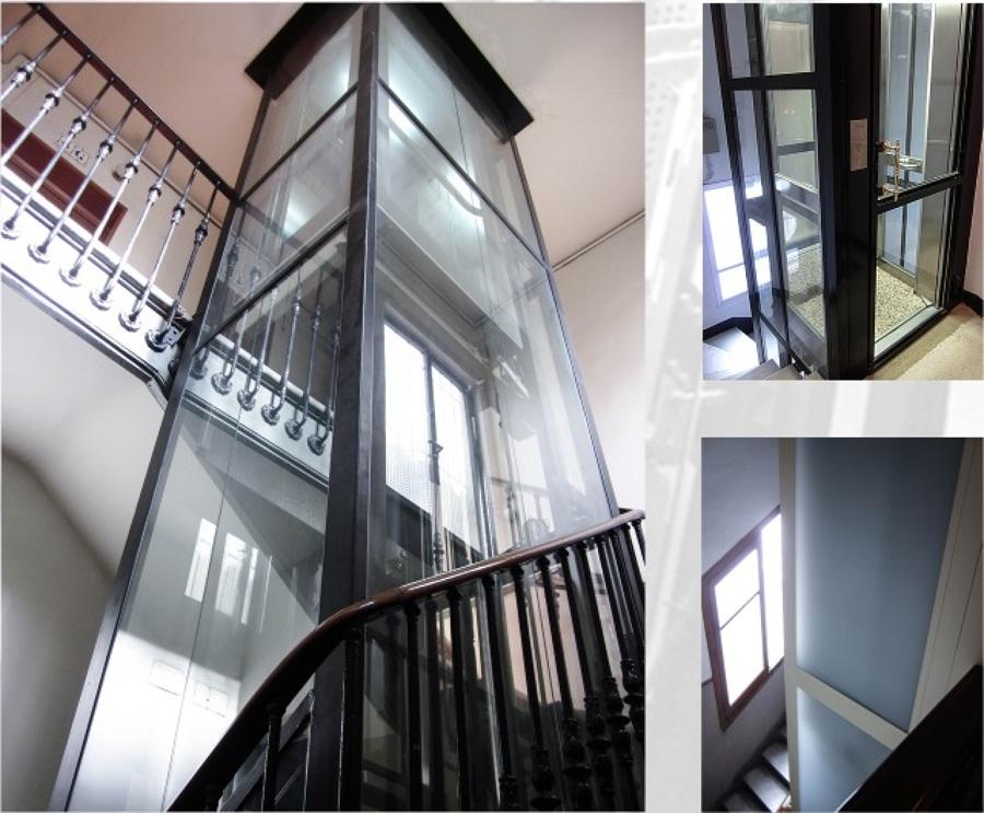 Instalación de ascensor con cerramiento en vidrio