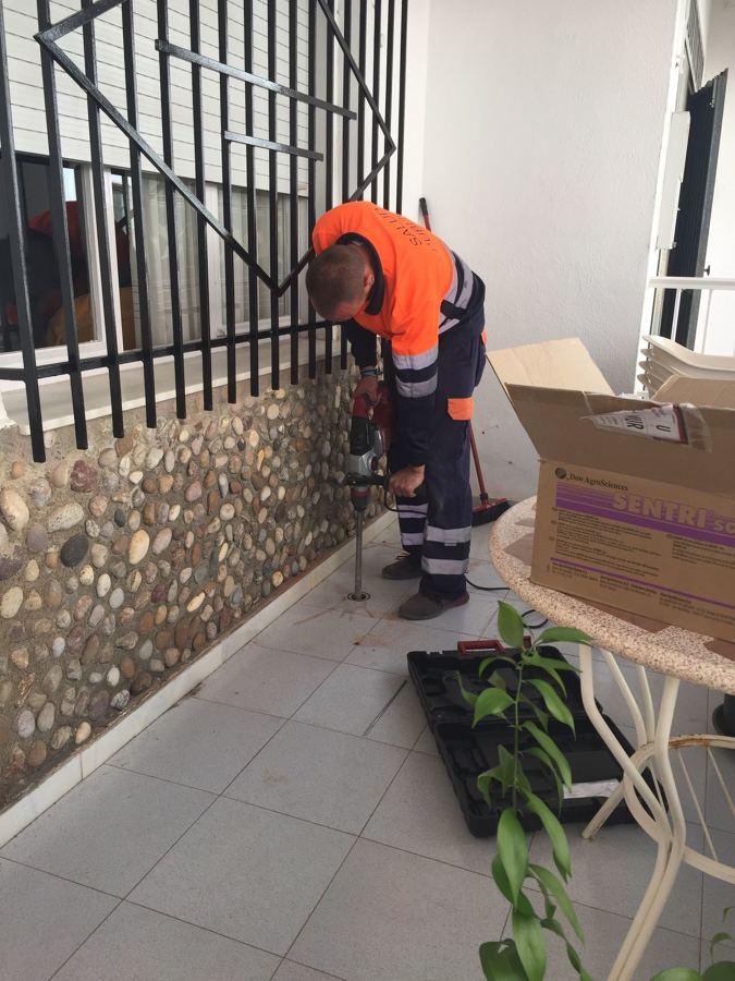 Instalación de cebos en exteriores de viviendas.