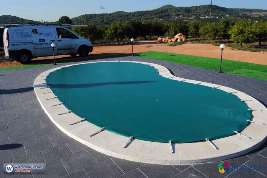Instalaci n lona de piscina cobertor de invierno ideas for Mantenimiento piscina invierno